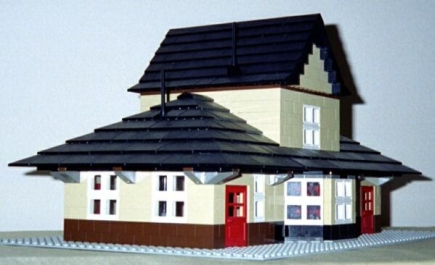 Oblique view of the Railroad Depot model